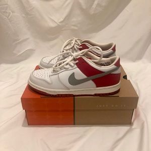 Nike Dunk Low in Red, White, and Grey
